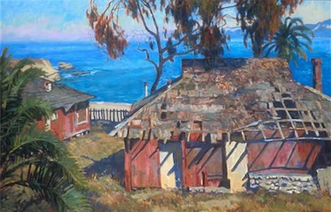 DESERTED BEACH HOUSES LA JOLLA 24X36 sold